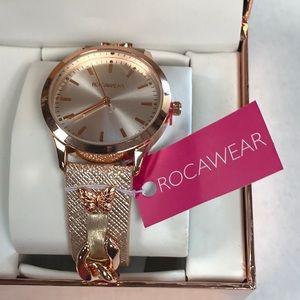 Rocawear rose gold butterfly watch